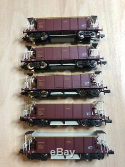 5 x Graham Farish (377-002A) 40 Tonne Seacow YGB bogie hopper wagons EWS Livery
