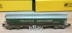8x Graham Farish N Gauge 373-235 Boggie Wagons. Traffic Services Weathered