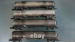 Graham farish n-gauge tanker wagon 100T FINA tank x4 + pro weathered oil details