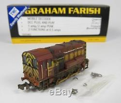 N Gauge Farish 371-019 DCC Fitted Class 08 897 EWS Shunter Loco TMC Weathered