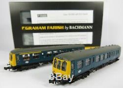 N Gauge Farish 371-876DS DCC SOUND Class 108 2 Car DMU BR Blue Loco