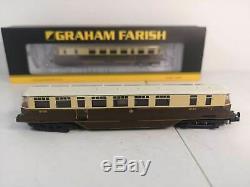 N Gauge Graham Farish 371-629 GWR Railcar 20 and 21 in GWR chocolate & cream wit